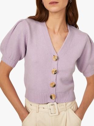 Warehouse Cosy Puff Short Sleeve V-Neck Cardigan, Lilac