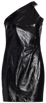 RtA Aurora One-Shoulder Leather Mini Dress