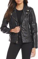 GUESS Notch Collar Asymmetrical Zip Genuine Leather Moto Jacket