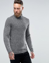 Ted Baker Turtle Neck Jumper In Salt N Pepper Yarn