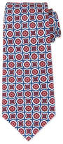 Kiton Fancy Medallion-Print Silk Tie, Burgundy/Navy