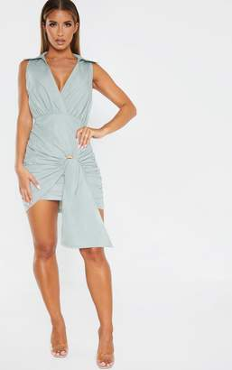 PrettyLittleThing Sage Green Sleeveless Ruched Wooden Buckle Drape Shirt Dress