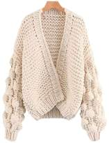 'Abbey' Hand-knitted Pom Pom Sleeve Chunky Cardigan - Cream White