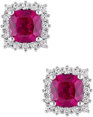 Delmar Sterling Silver Created White Sapphire Halo Cushion Created Ruby Earrings