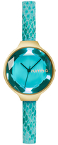 RumbaTime Orchard Gem Exotic Leather Aqua Dial Watch, 34.2mm