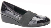 Ros Hommerson Black Croc Patent Stretch Erica Leather Wedge