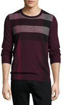 Burberry Feldon Graphic Check Cashmere-Cotton Sweater, Burgundy Red