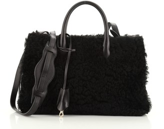 Balenciaga Padlock Nude Work Tote Fur with Leather XS
