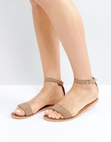 Boohoo Suede Sandal With Ankle Strap