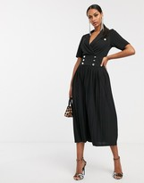 Asos Design DESIGN midi button detail shirt dress with pleated skirt