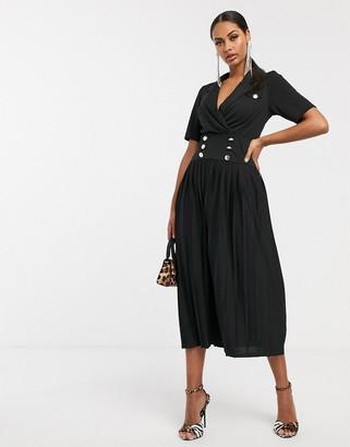 Asos Design DESIGN midi button detail shirt dress with pleated skirt-Black