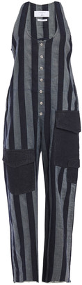 7 For All Mankind Striped Cotton And Linen-blend Twill Jumpsuit