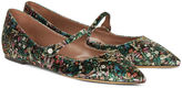 Tabitha Simmons Green Velvet Floral Hermione Flats