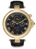 Saks Fifth Avenue Goldtone Round Stainless Steel & Black Patent Leather Watch