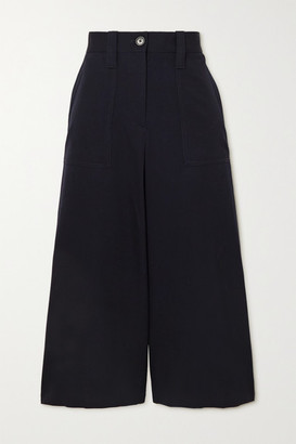 J.W.Anderson Cropped Wool-twill Wide-leg Pants - Navy