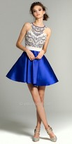 Camille La Vie Two Tone Beaded Mikado Homecoming Dress