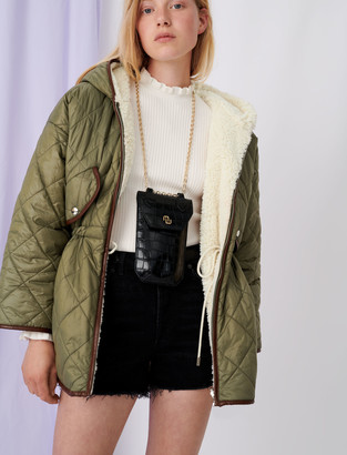 Maje Down jacket with hood and faux fur