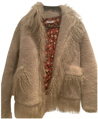 Saks Potts Beige Faux fur Coat for Women