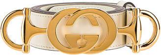 Gucci Leather Interlocking G Belt in Off White | FWRD