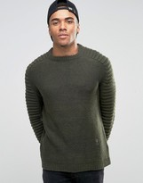 Religion Sweater With Ribbed Arm Detail