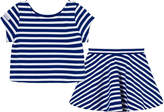 Ralph Lauren Blue and White Stripe Skirt and Top Set