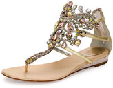 Rene Caovilla Jewel-Embellished Flat Thong Sandal, Platinum/Rose Gold