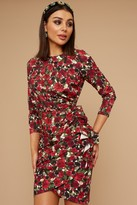 Thumbnail for your product : Little Mistress Wren Rose-Print Long sleeve Mini Dress