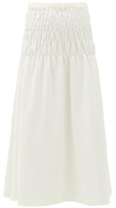Rhode Resort Greta Smocked Crepe Midi Skirt - Womens - White