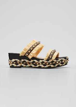 Christian Louboutin Voltinoudou Raffia Spike Flatform Sandals
