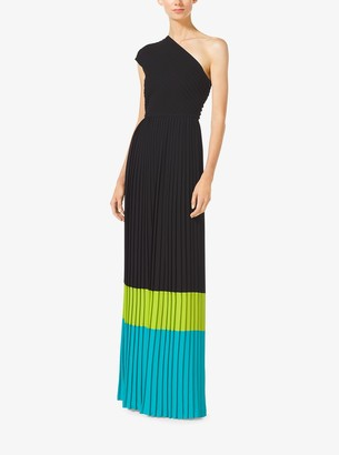 Michael Kors Color-Block Pleated One-Shoulder Gown