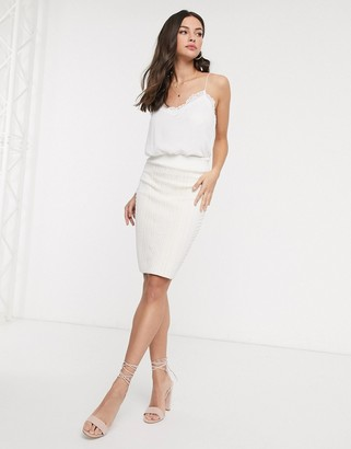 Glamorous bodycon midi skirt in cream