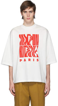 MAISON KITSUNÉ White Oversized Wavy Logo T-Shirt