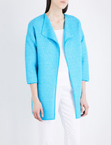 St. John Collarless lattice knitted jacket