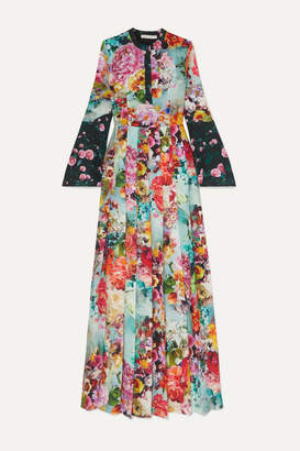 Mary Katrantzou Desmine Floral-print Crepe De Chine Maxi Dress - Blue