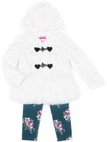 Little Lass Ivory & Navy Faux Fur Jacket Set - Toddler & Girls