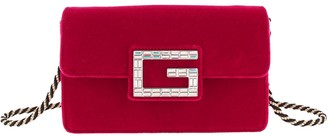 Gucci Red Velvet Broadway Chain Crossbody Bag