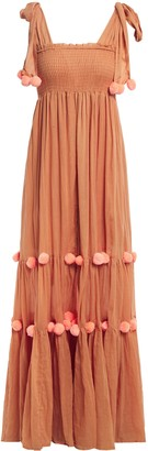 SUNDRESS Pippa Pompom-embellished Smocked Cotton Maxi Dress