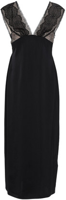 Victoria Beckham Lace-paneled Satin Midi Dress