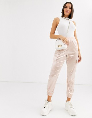 Asos DESIGN satin jogger with pockets