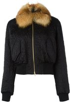Lanvin fox fur collar bomber jacket - women - Silk/Cotton/Fox Fur/Wool - 38