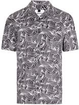 Topman Black and White Wave Print Short Sleeve Casual Shirt