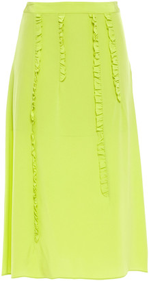 McQ Ruffle-trimmed Silk Crepe De Chine Midi Skirt