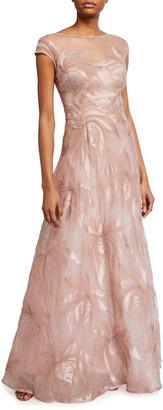 Rickie Freeman For Teri Jon Cap-Sleeve 3D Applique Gown