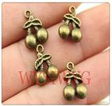 Nobrand No brand 8pcs 1411mm antique bronze plated 3D cherry charms