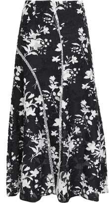 GOEN.J Lace-trimmed Floral-print Fil Coupe Jacquard Maxi Skirt
