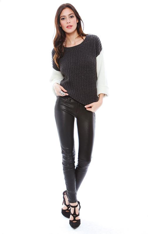 Rag and Bone The Zipper Tuxedo Skinny in Black Leather