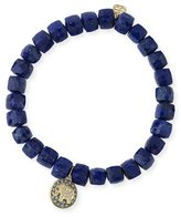 Sydney Evan 6mm Cubed Lapis Beaded Bracelet with Diamond Elephant Charm