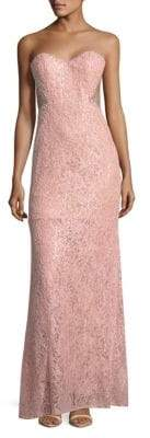 La Femme Strapless Embroidered Column Gown