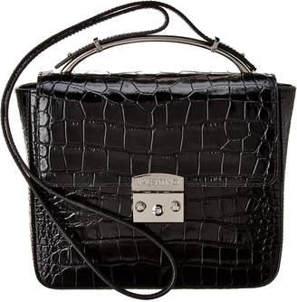 Mario Valentino Valentino By Marie Croc-Embossed Leather Crossbody