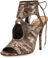 Aquazzura Sexy Thing Suede Cutout Sandal, Metal Camouflage